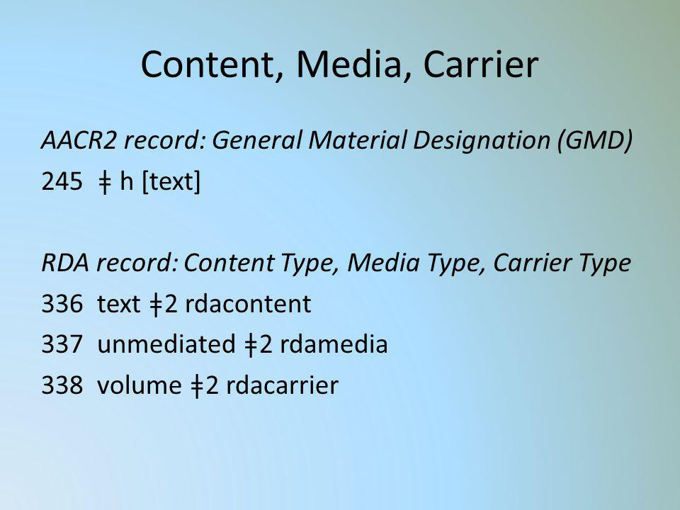 Content, Media, Carrier AACR2 record: General Material Designation (GMD) ǂ h [text] RDA record: Content Type, Media Type, Carrier Type.